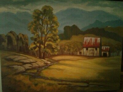 Canadian Artist, Oil Painting, Country Landscape On Canvas
