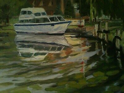 Canadian Artist, V Williams, Oil On Canvas, Boat On Water, Signed