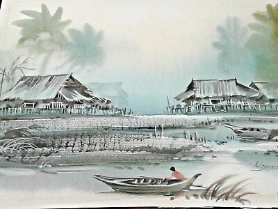 Antique Vintage Chinese Water Color Fishing Boat Village Signed