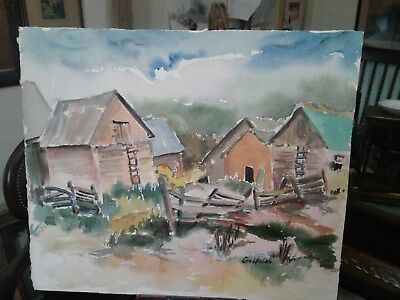 Vintage Landscape Painting Barns Ruins Countryside signed WALSH