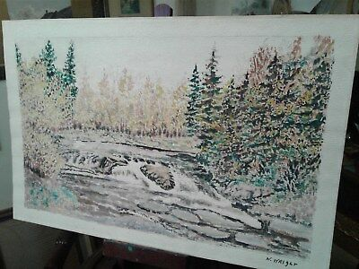 Vintage Landscape Painting Artist W. Wright Trees Flowing Water