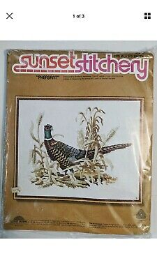 "Vintage 1977 Sunset Stitchery "" PHEASANT"" Crewel Embroidery Kit 16"" x 20"" NIP"