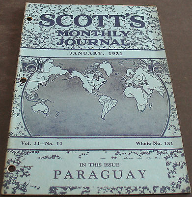 Scott's Monthly Journal January 1931 Paraguay + more Scarce
