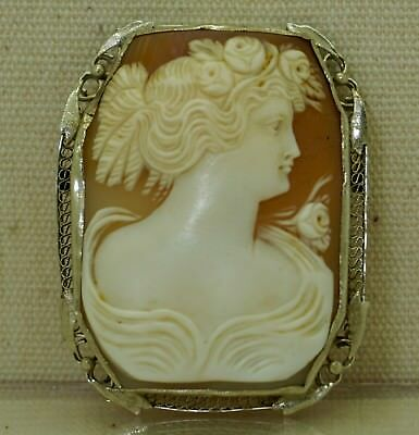 Vintage 14K Yellow Gold Hand Carved Female Portrait Cameo Pin Brooch, 11.2 grams