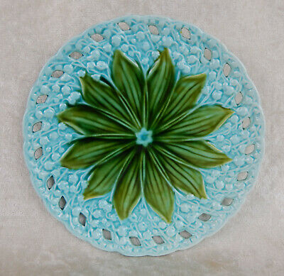 """Vintage German Schramberg Majolica Lily Of The Valley Reticulated Plate 7.5"""""""