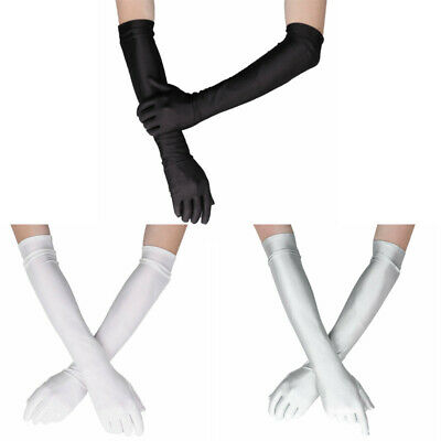 1 Pair Long Opera Party 20s Nylon Gloves Stretchy Adult Size Elbow Length 20""