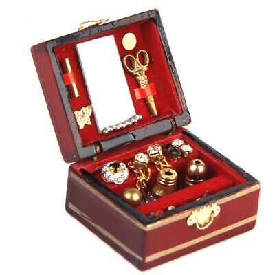 1:12 Scale Dollhouse Miniature Filled Wooden Jewelry Box Kids Toys