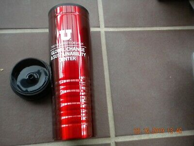 Insulated Stainless Steel Tumbler with Push-on Swivel Lid Red & Black 16 oz