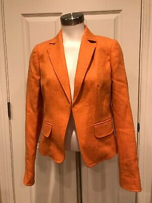 J. Crew Orange Herringbone 100% Wool Blazer, Size 6, NWT!
