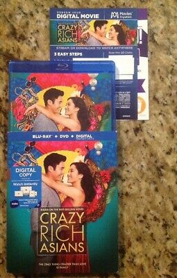 Crazy Rich Asians (Blu-Ray/DVD,2018,Digital) Authentic US Release