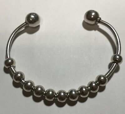 "925 Sterling Silver Slide Charm Beaded Cuff Bracelet  15.5g~5 3/4"" MEXICO"