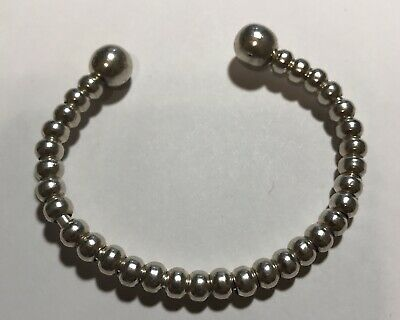 925 Sterling Silver Slide Charm Beaded Cuff Bracelet  17.3g~6""