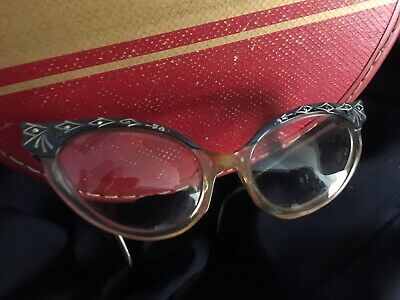 CATS! Meow Vintage Bakelite & Rhinestone Cat Eye Glasses 1920s Or 30s Purrfect