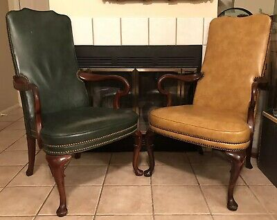 OLD HICKORY LEATHER CHAIR Executive Office FURNITURE Brass Stud Bank Chairs VTG