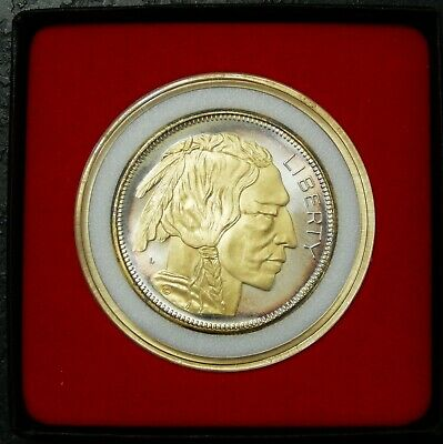 Buffalo Indian Head .999 Fine Silver Round 1 Troy oz ~ Gilded ~ Includes Case
