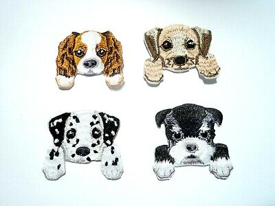 1x Cute Puppy Pocket Patches Embroider Cloth Badge Applique Iron Sew On Dog Pet