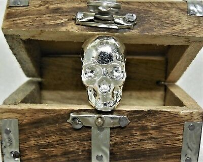 Atlantis 3-D Skull Hand Poured 1Tr Oz .999 Fine Silver Bullion & Treasure Chest
