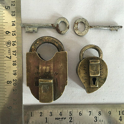 Lot 2pcs old antique retro solid brass padlock lock with key small or miniature