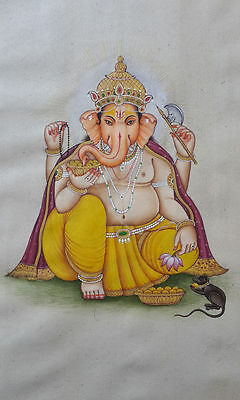 An old or antique look fine miniature paper painting of GANESHA
