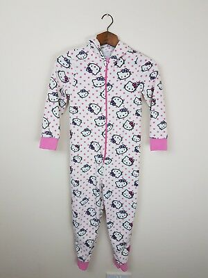 Sanrio Hello Kitty All In One Hooded Jumpsuit Pyjamas Pjs UK 8-9 Yrs Cosy Fleece