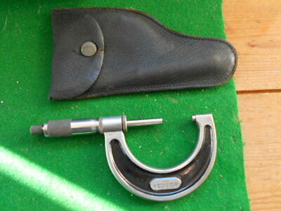 """VINTAGE STARRETT 1"""" - 2"""" No 226 MICROMETER WITH LEATHER POUCH , SUPER CONDITION"""