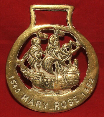 Vintage Horse Brass, Raising of the Mary Rose 1545 to 1982, Henry VIII, Tudor