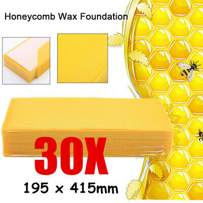 30 Pack Beekeeping Honeycomb Foundation Wax Bee Honey Sheets Tool Supplies
