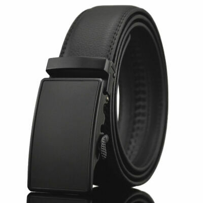 Fashion Luxury Casual Solid Leather Automatic Buckle Mens Belt Waistband Black