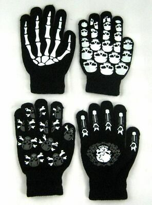 Glow In the Dark Skully Magic Stretchy Winter Gloves 4 Model One Size Fits Most