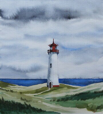 ORIGINAL AQUARELL - Leuchtturm List-West auf Sylt.