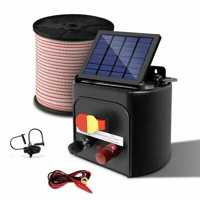 Giantz 8km Solar Electric Fence Energiser with Bonus Charger 400M Tape and Pinlo
