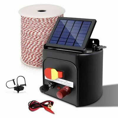 Giantz 8km Solar Electric Fence Energiser with Bonus Charger 500M Tape and Pinlo