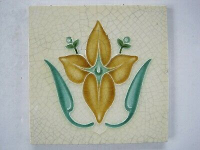ANTIQUE RELIEF MOULDED ART NOUVEAU DESIGN TILE - CORN BROS - c1898 - 1904