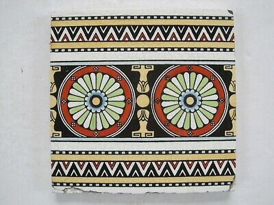 ANTIQUE VICTORIAN MINTONS AESTHETIC PRINT & TINT BORDER TILE 1670C c1868-1900