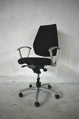 Black Fabric / Silver Office Operator Swivel Chair [Adjustable] 3 Available