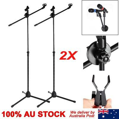 Microphone Boom Stand Dual Mic Clip Folding Arm Tripod Height Adjust Holder AU