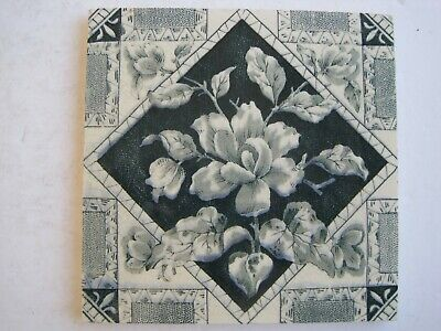 Antique Victorian Sherwin & Cotton? Floral Transfer Print Tile C1877 - 1900