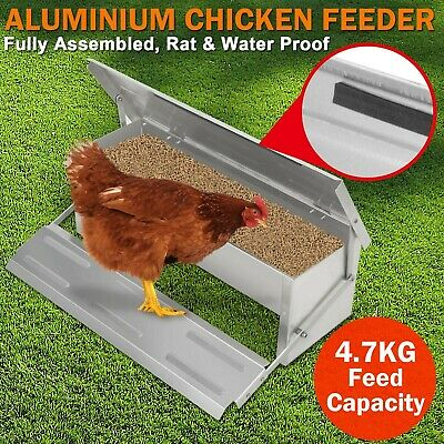 Automatic Treadle Self Opening Chicken Feeder Aluminium Waterproof Chook Poultry