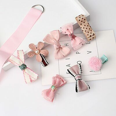 8 pcs Mixed Bow Ribbon Flower Hair Clip Hairpins for Baby Kids Children Girls