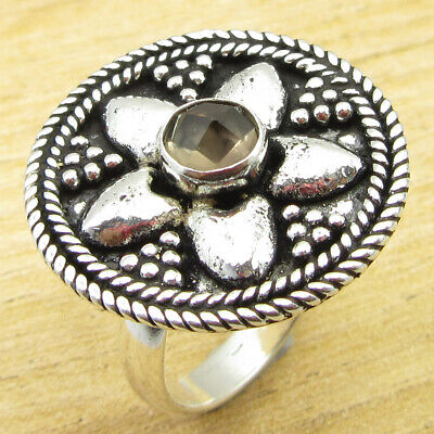 Fiery Smoky Quartz GORGEOUS Ring Size 9 ! 925 Silver Plated Jewelry ONLINE STORE