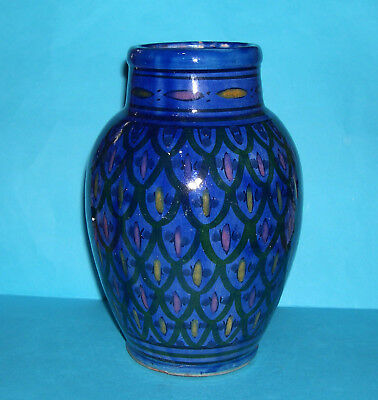 Vintage Moroccan Safi Art Pottery - Attractive Large Highly Decorative Blue Vase