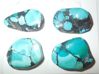 Turquoise Rough Stone Surface Flat Bottom Free Form Cab 143.5 Carat 4 pieces A