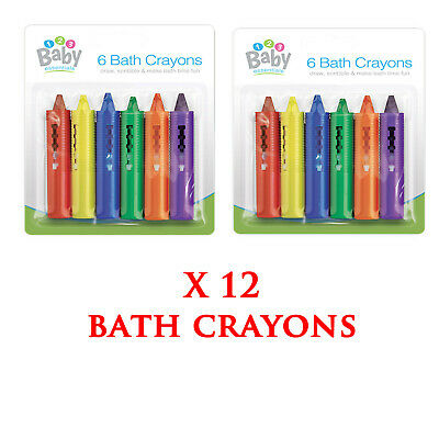 12 X Washable Bath Crayons Kids Baby Bath Time Non Toxic Drawing First Steps New
