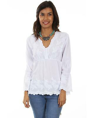 7d63a02df75b Cantina by Scully Women's White Plunge Long Sleeve Blouse - PSL-221