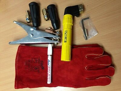 Arc Welding Starter Kit Gauntlets, Electrode Holder, Clamp, Dinse P/S