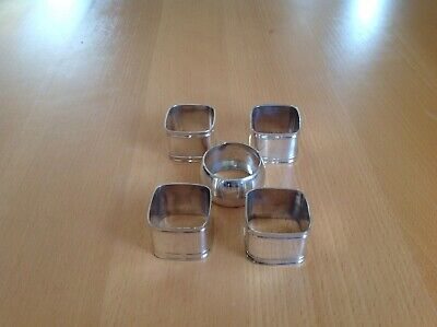 5 silver Plated Napkin Rings