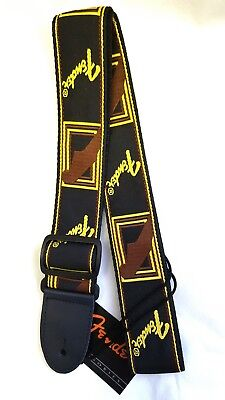 "Fender Monogrammed Guitar Strap Black/Brown/Gold 2""wide fully adjustable"