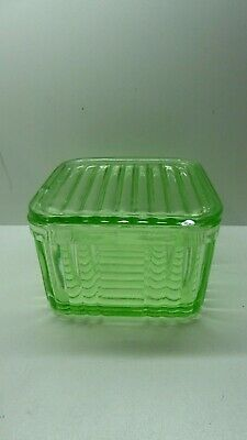 Vintage Art Deco Green Pressed Glass Depression Butter Dish