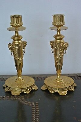 Fine pair 19th c French empire brass candlesticks. C151