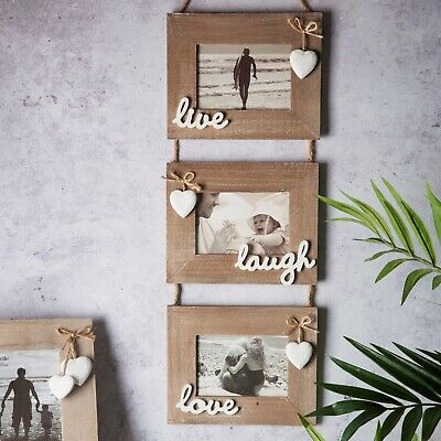 Chic Shabby Triple Wooden Hanging Live Laugh Love Photo Frame Rustic Landscape